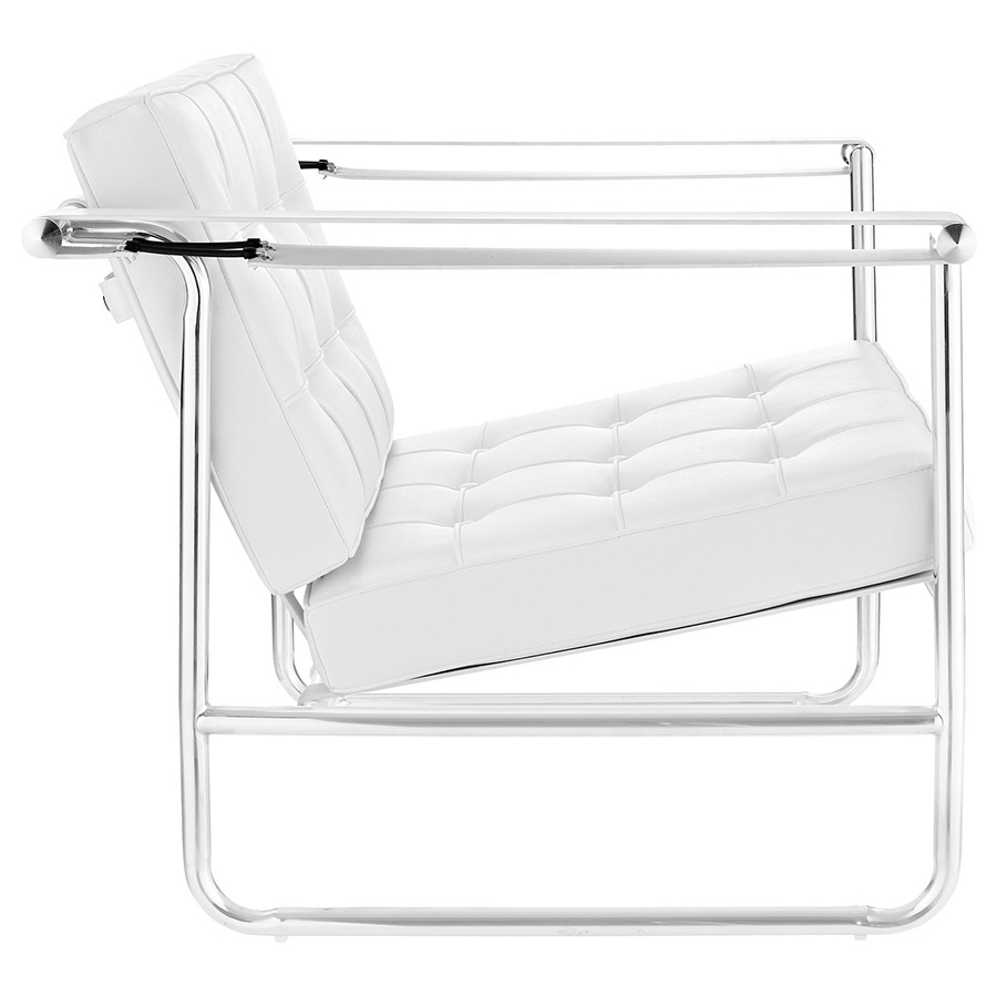 Seine Modern White Lounge Chair - Side View