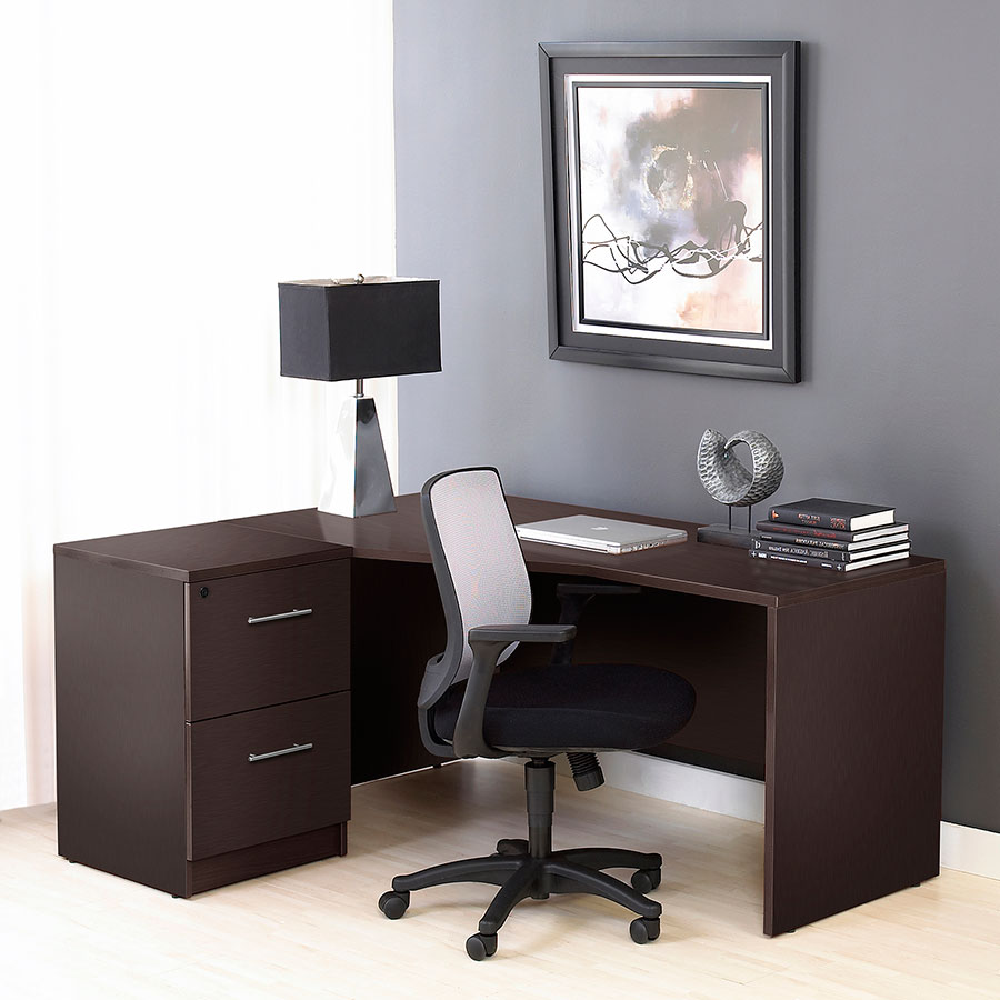 Series 100 Espresso Melamine Contemporary Left Crescent Desk
