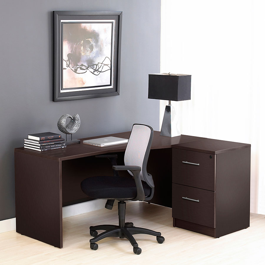 Series 100 Crescent Modern Desk Right Espresso