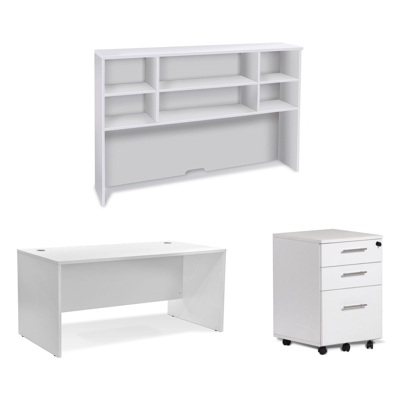 Series 100 Modern White 63 Inch Desk, Hutch + File