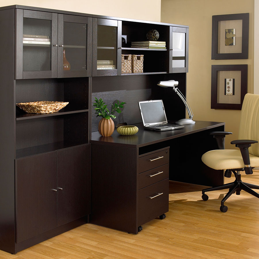 Series 100 Espresso Modern Bookcase Doors - Solid with Laminate Finish