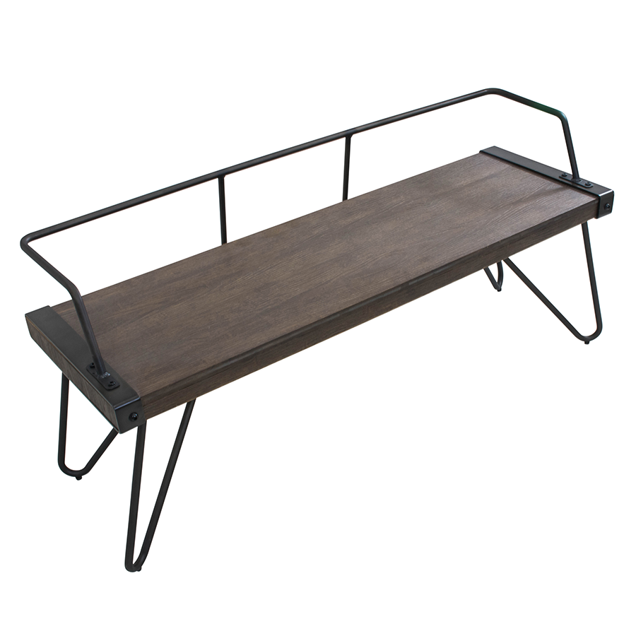 Sesto Metal + Wood Contemporary Industrial Bench