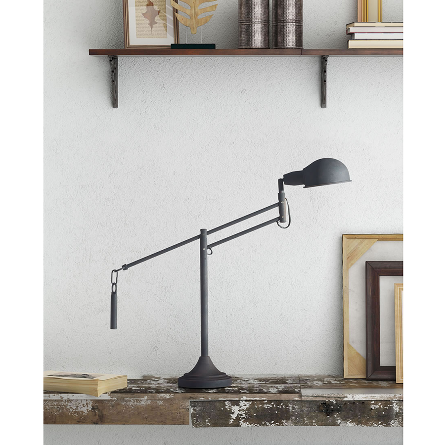 Terenti Black Weathered Contemporary Table + Desk Lamp