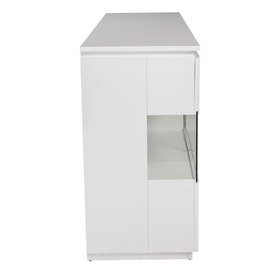 Shaw Matte White + Glass Contemporary Sideboard