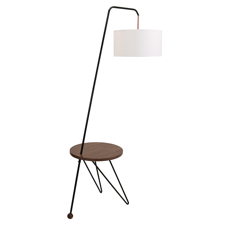 Shura Walnut + Metal Modern Floor Lamp + Side Table