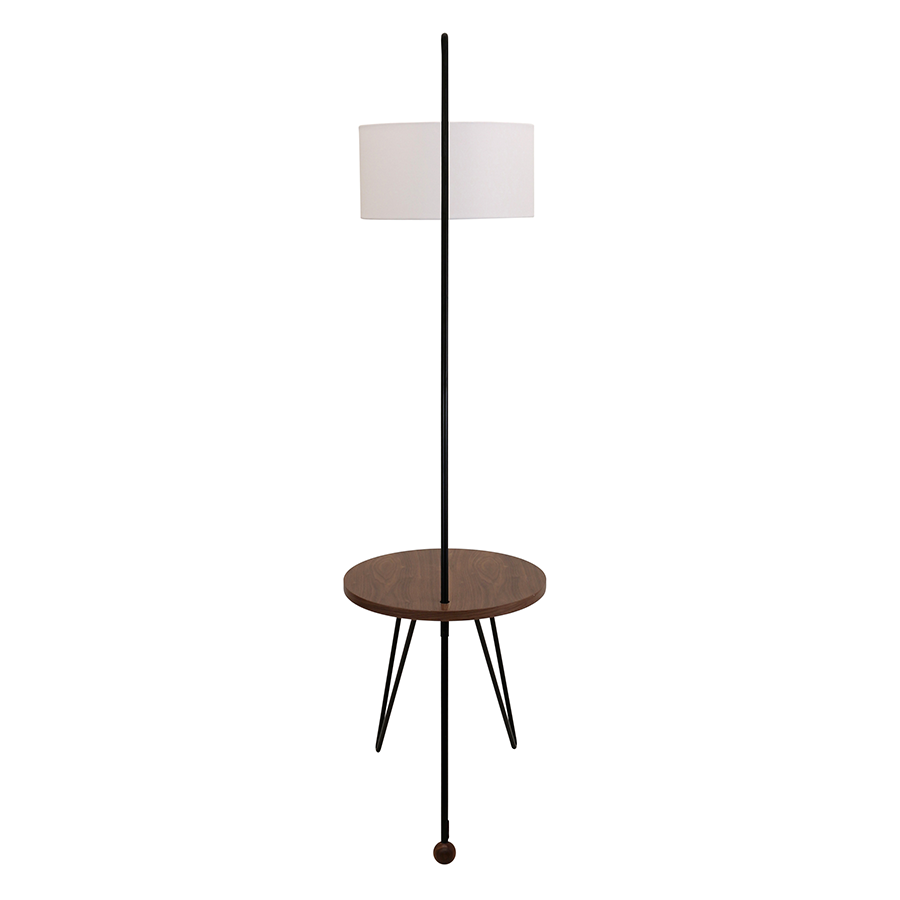 Shura Walnut + Metal Contemporary Floor Lamp + Side Table