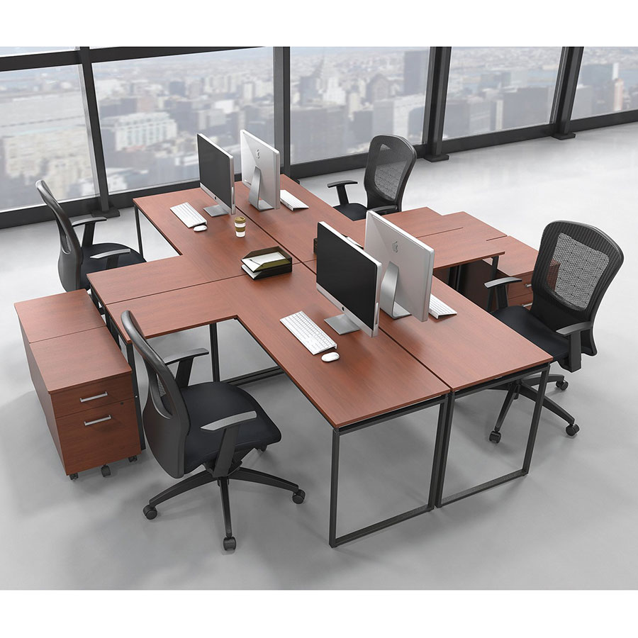 Siena Modern Cherry L-Desk - Four Desk Configuration
