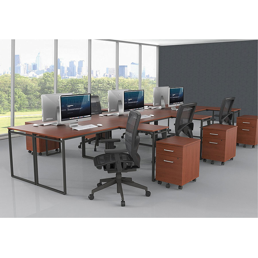 Siena Modern Cherry L-Desk - Six Desk Configuration