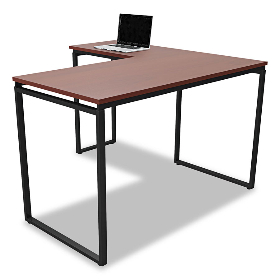 Siena Modern Cherry and Black L-Desk