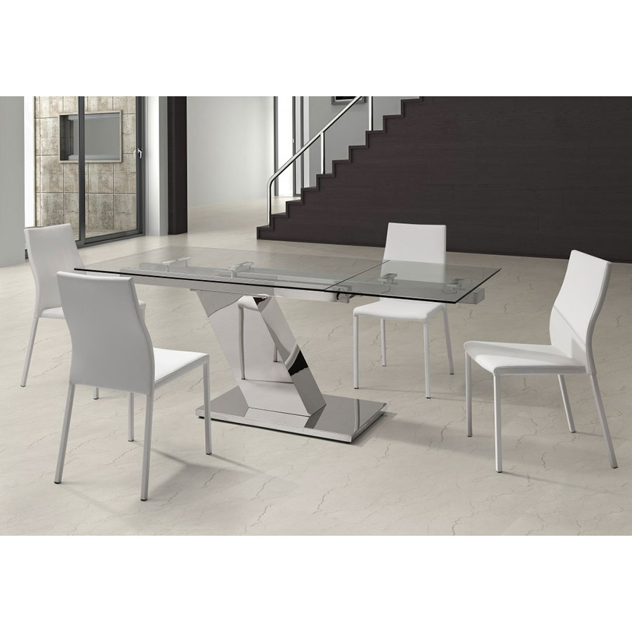 Simpson Contemporary Glass Extension Table