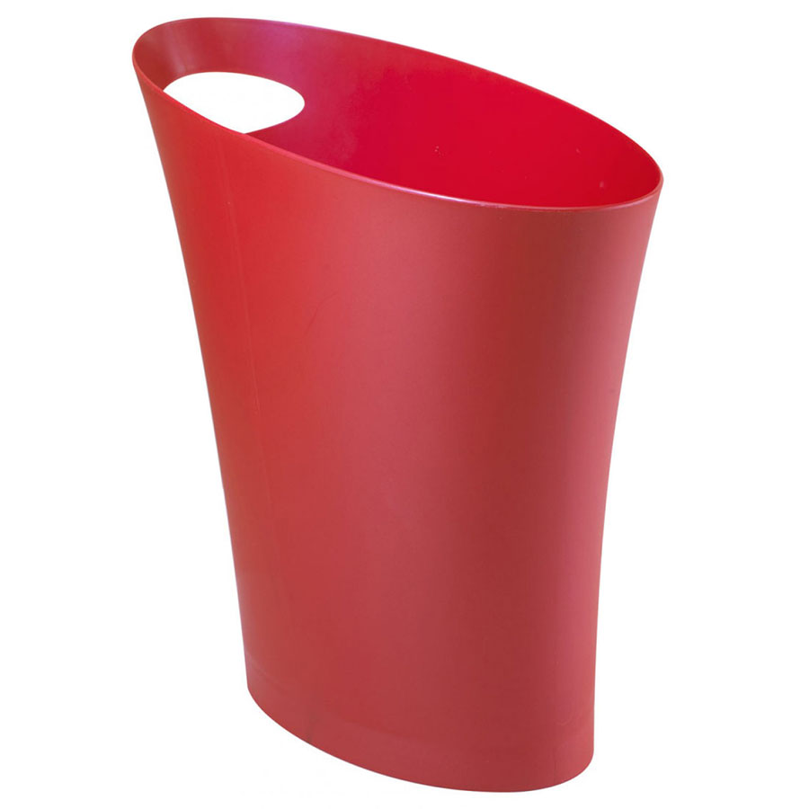 Modern Red Skinny Waste Can