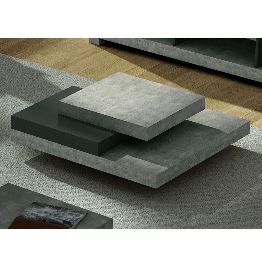 Slate Concrete Contemporary Coffee Table Room
