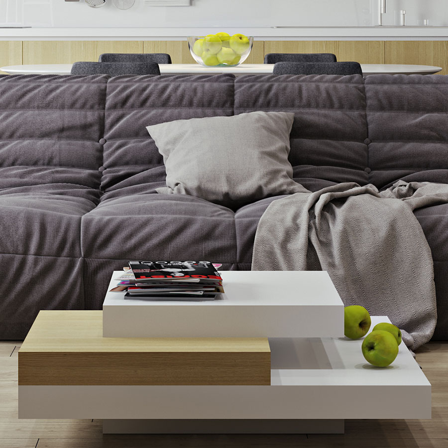 Slate White + Oak Contemporary Coffee Table Lifestyle
