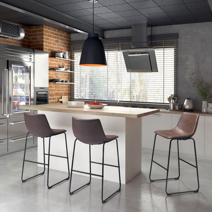Slater Contemporary Leatherette Bar Stool
