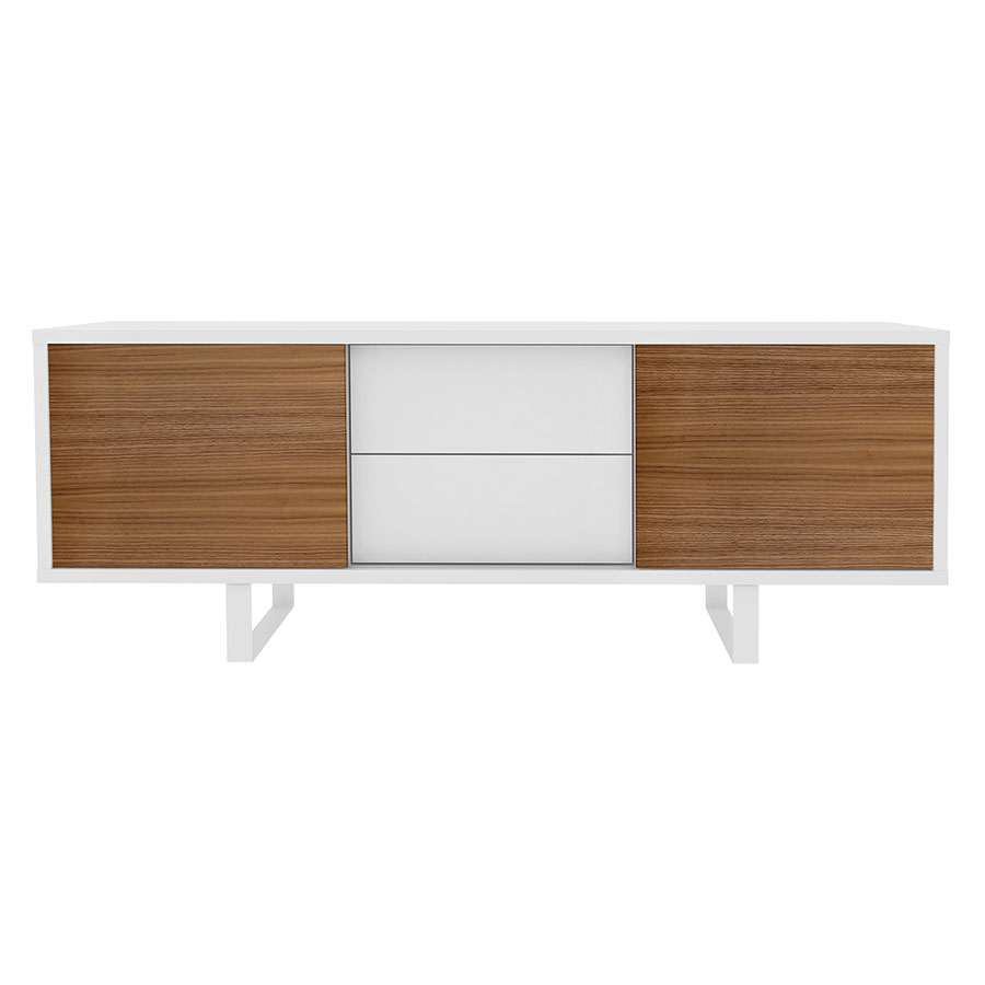 Slide White + Walnut Contemporary Sideboard w/ Drawers