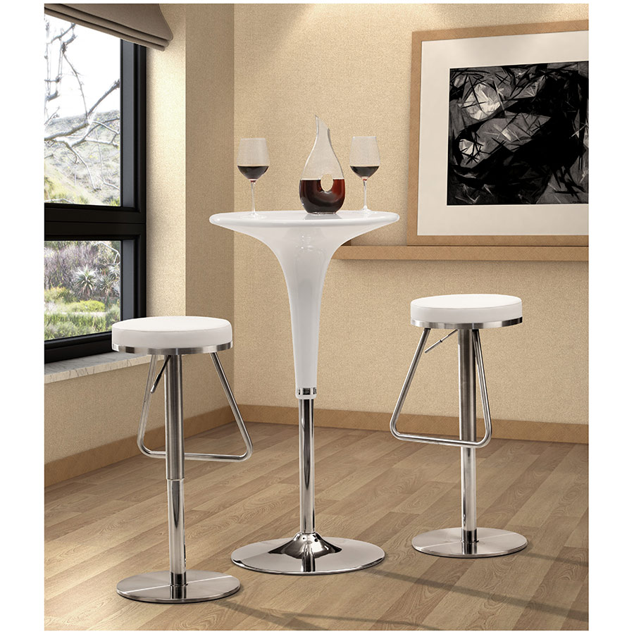 Soda Adjustable Stool in White