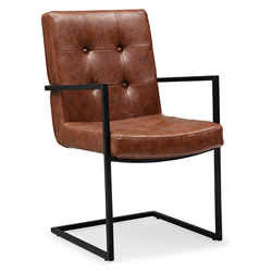 Spade Brown Modern European Faux Leather Dining Arm Chair