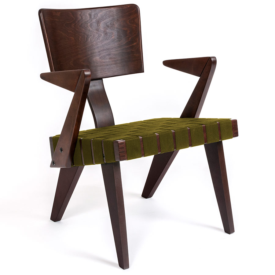 Spanner Contemporary Chair by Gus Modern in Dark Birch with Green