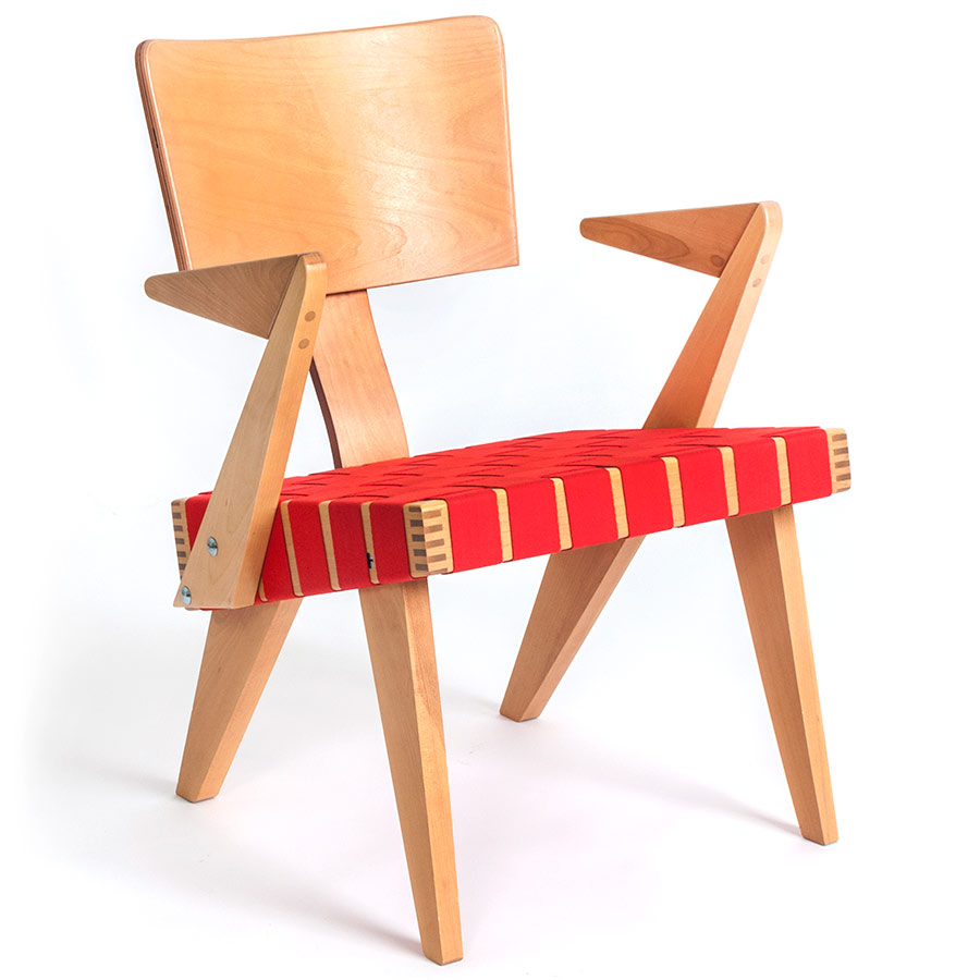 Spanner Contemporary Chair by Gus Modern in Light Birch with Red
