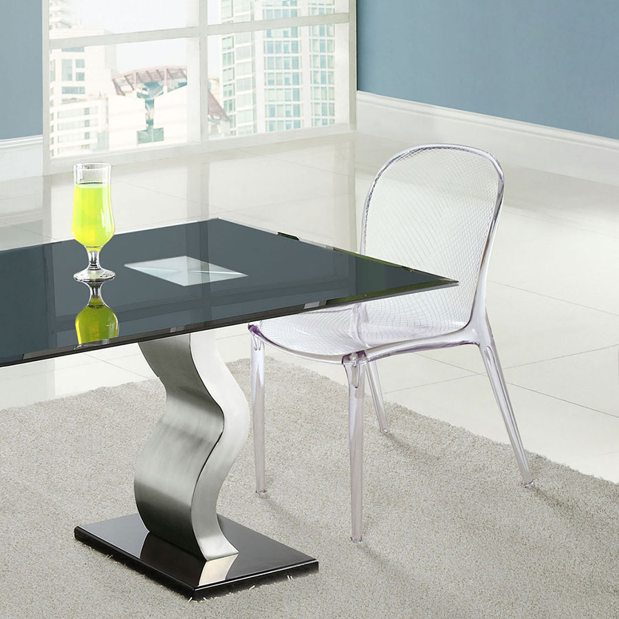 Spirit Clear Acrylic + Wireframe Modern Dining Chair