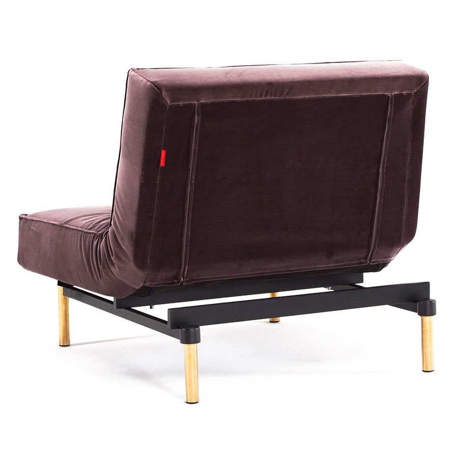 Splitback Modern Chair - Muave Velvet + Brass Legs - Back View