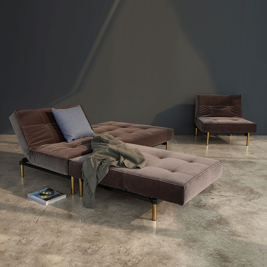 Innovation Splitback Chairs + Sleeper in Mauve + Brass
