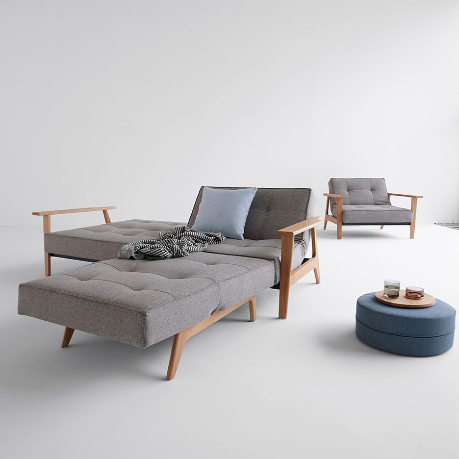 Splitback Sleeper Sofa and Chair in Grey