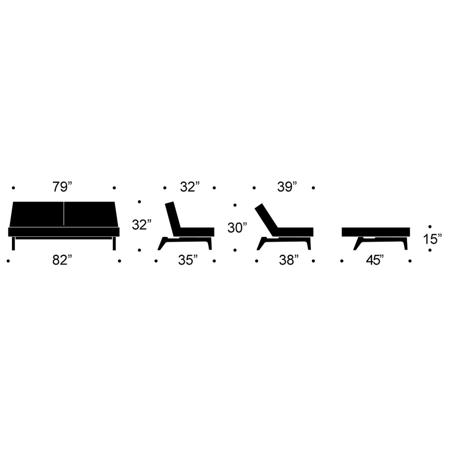 Splitback Eik Modern Sleeper Sofa Dimensions