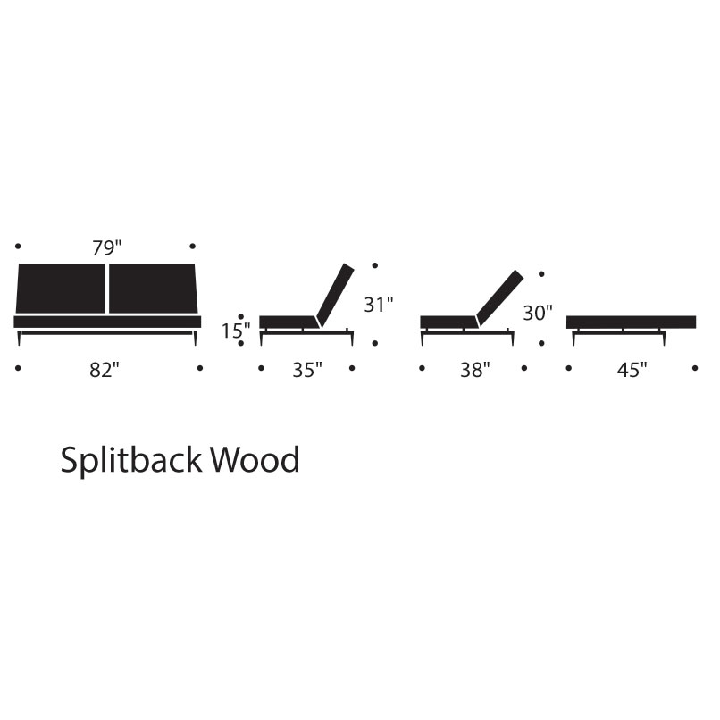 Splitback Modern Sleeper Sofa - Dimensions
