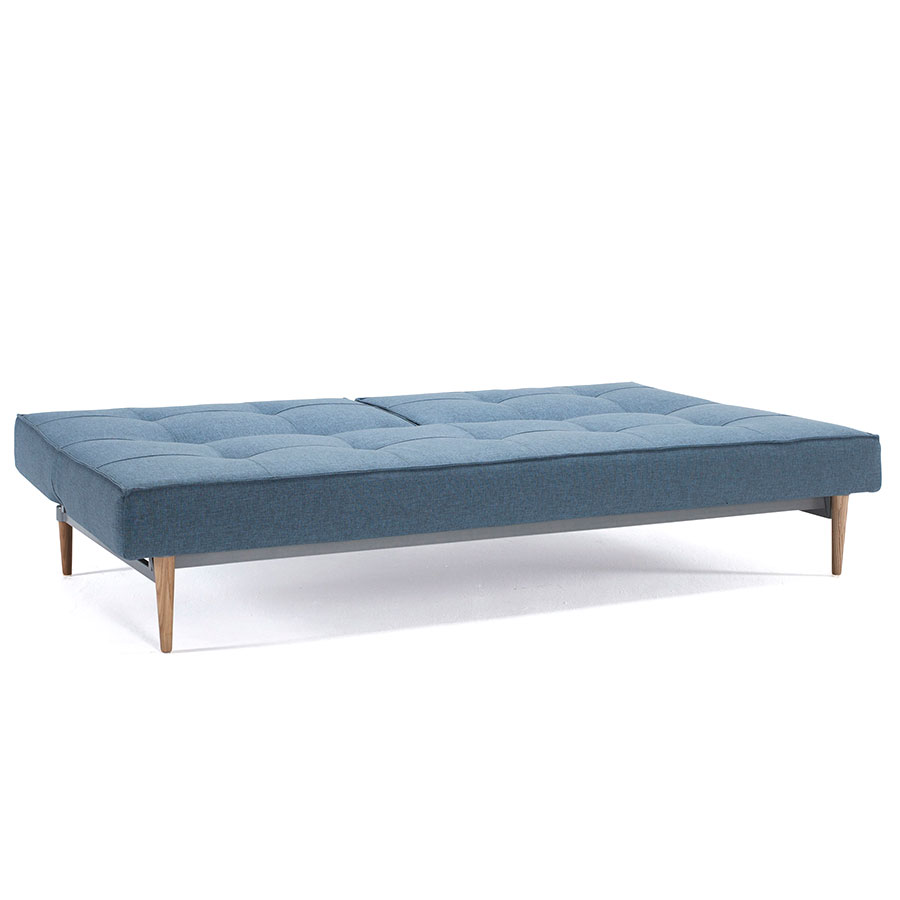 Splitback Modern Sleeper Sofa in Light Blue w/ Light Wood Legs