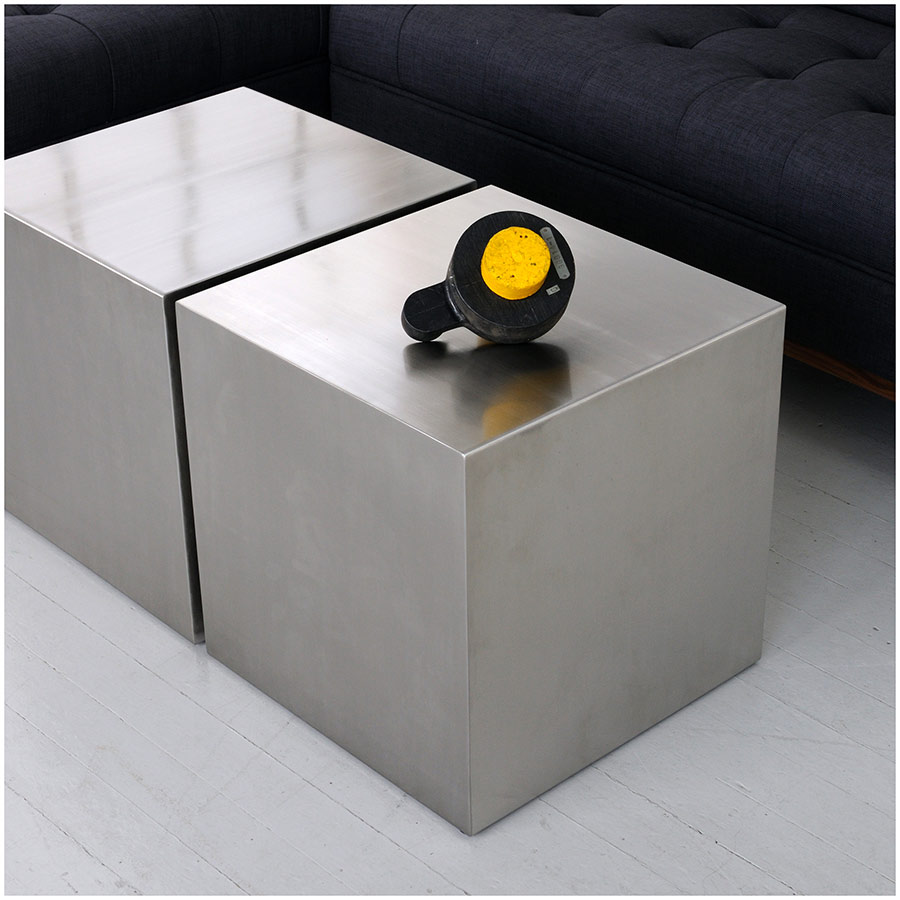 Pair of Stainless Steel Cubes by Gus Modern