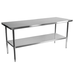 "Stelios 72"" Stainless Steel Modern Counter Height Kitchen Prep Table"