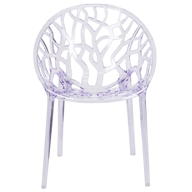 Stellar Modern Transparent Stacking Chair - Front View