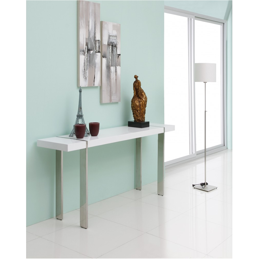 Struttura White + Metal Contemporary Console Table