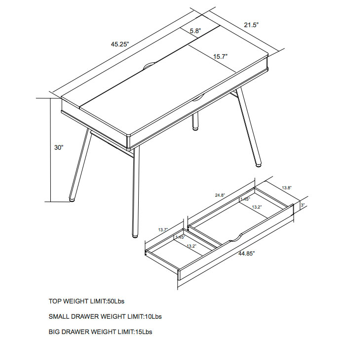 Sweden Modern Desk - Dimensions
