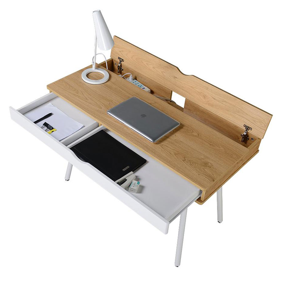 Sweden Modern Desk  - Drawer Open