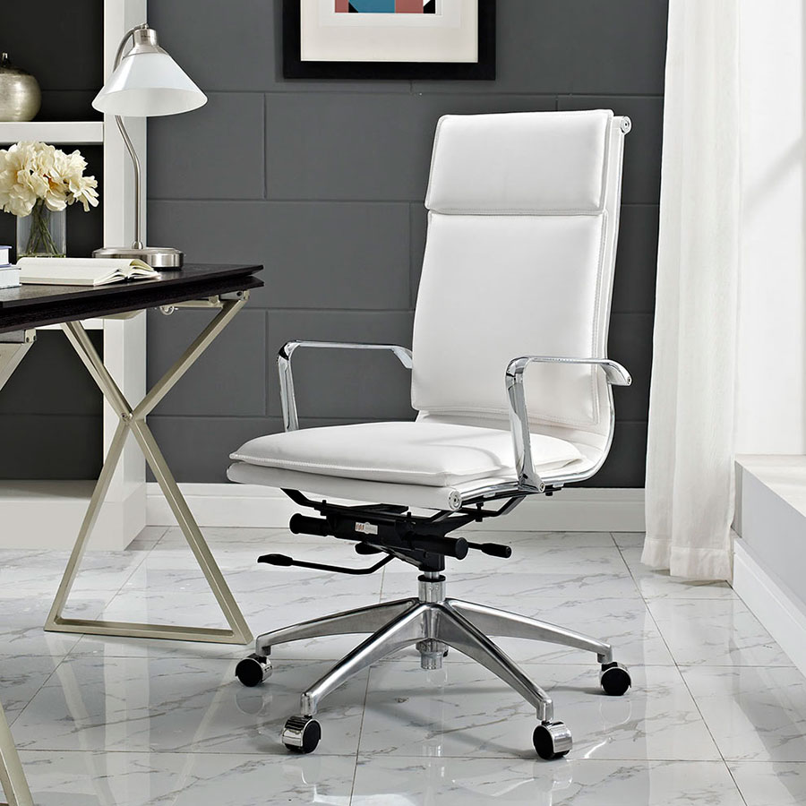 Sydney White Contemporary High Back Office Chair