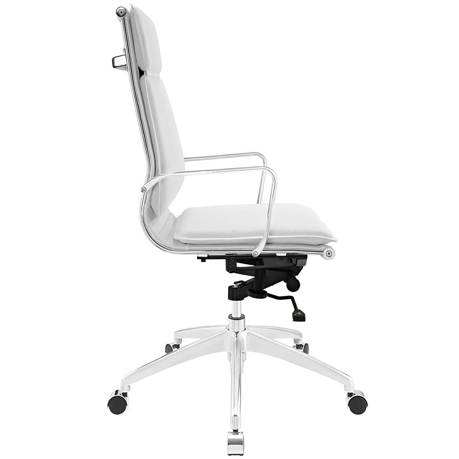 Sydney White Modern High Back Office Chair - Side View
