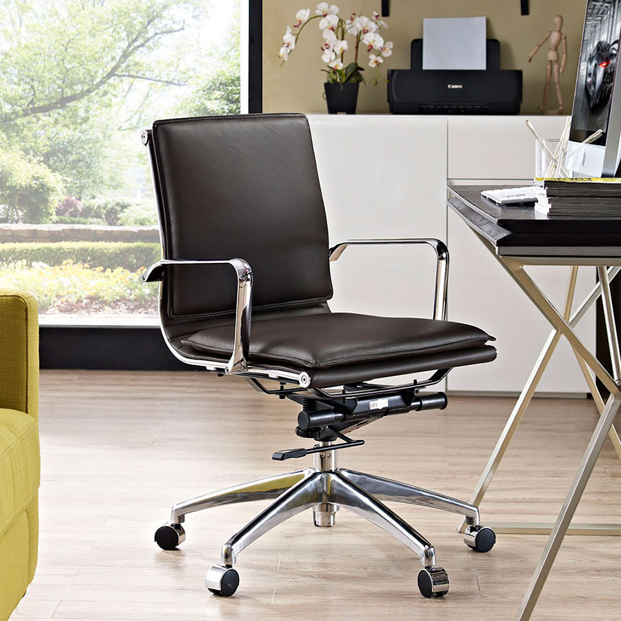 Sydney Brown Contemporary Low Back Office Chair