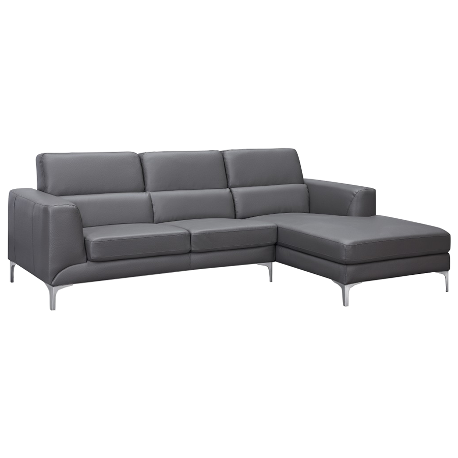Sydney Gray Leatherette Modern Sectional