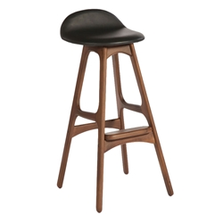 Tangent Modern Bar Stool - American Walnut + Black Leather