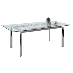 Tara Modern Clear Extension Dining Table