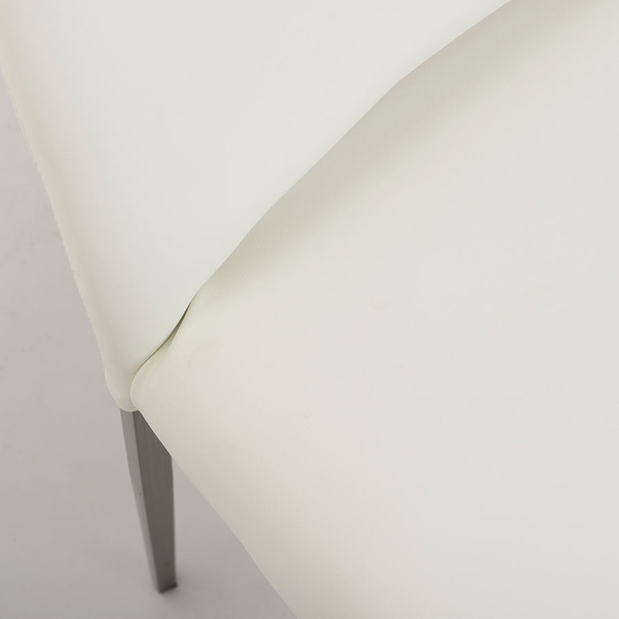 Tara White Leatherette + Brushed Steel Contemporary Side Chair