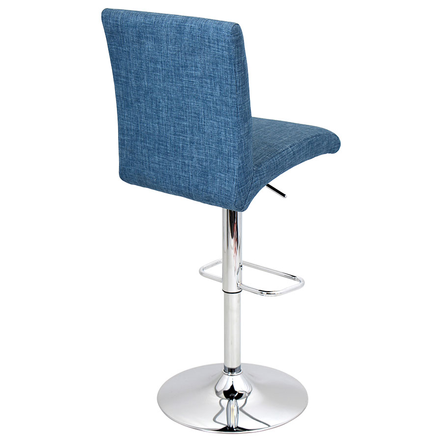 Tarik Blue + Chrome Contemporary Adjustable Stool