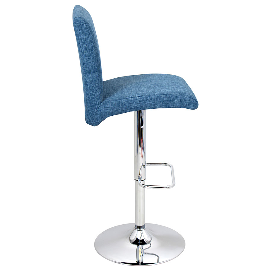 Tarik Blue + Chrome Modern Adjustable Stool