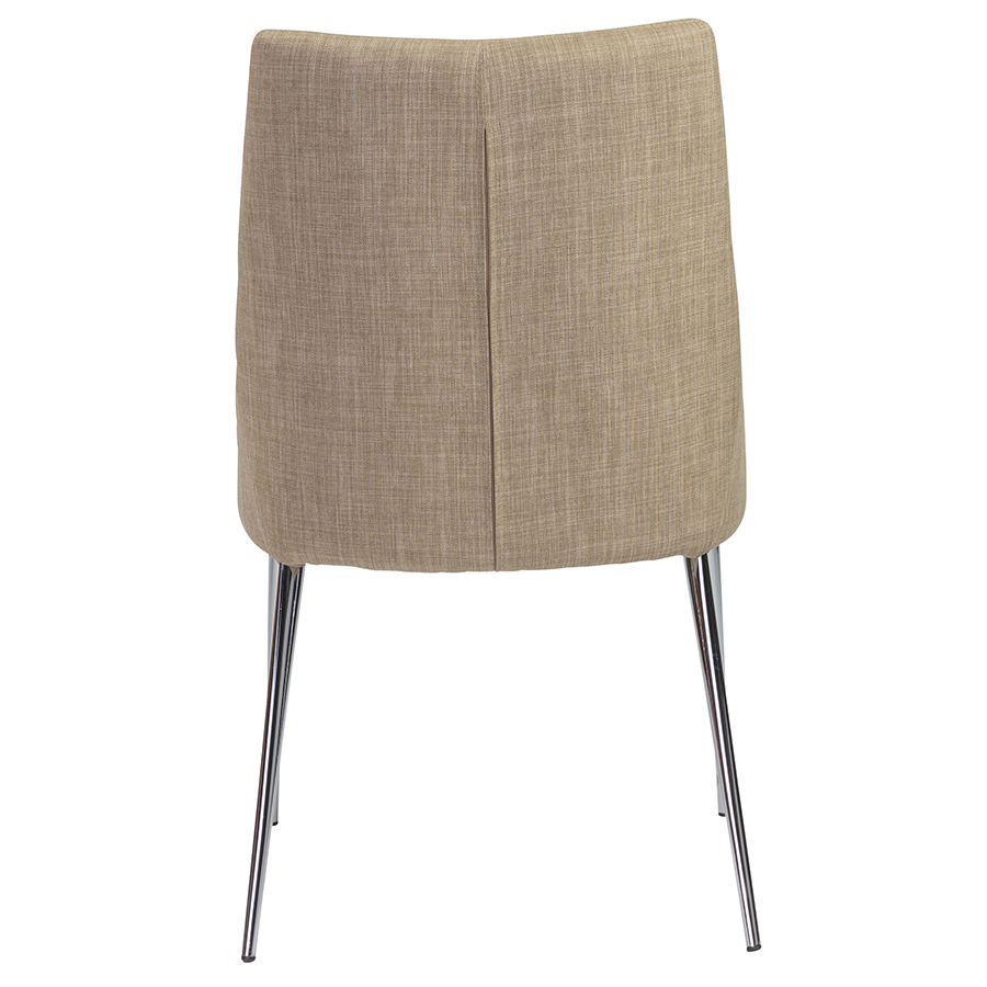 Tarnana Tan Fabric + Chrome Modern Dining Chair