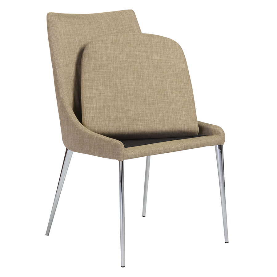 Tarnana Tan Fabric + Chrome Contemporary Dining Chair