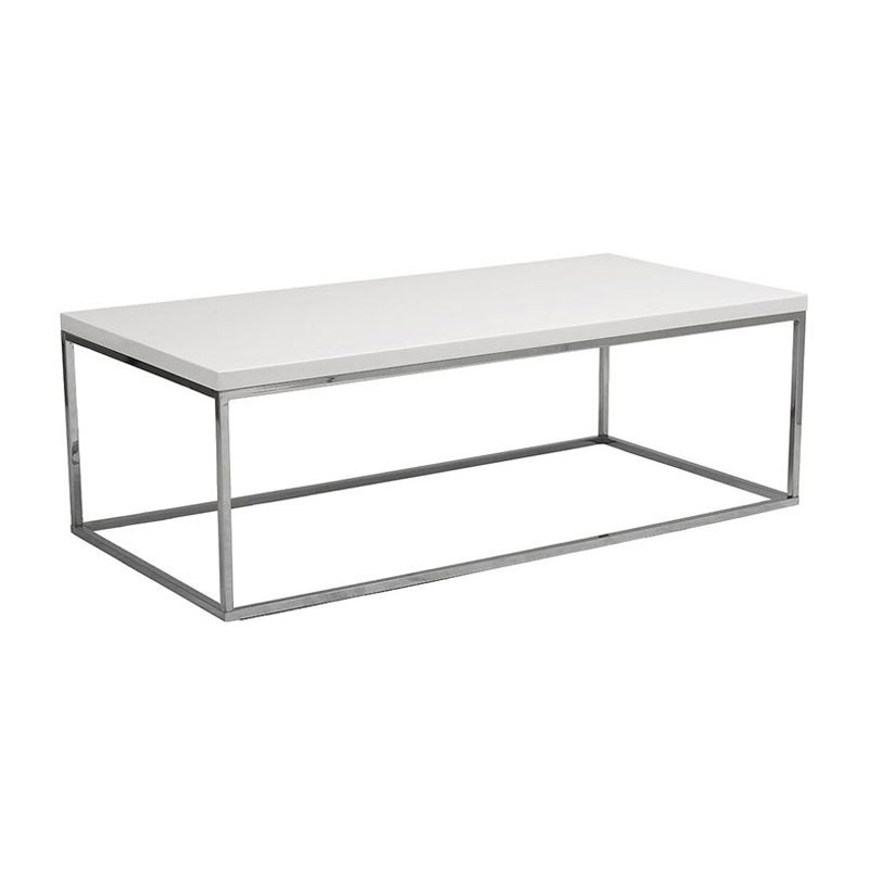 Ted Modern White + Chrome Cocktail Table