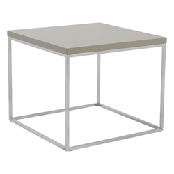 Ted Modern Taupe + Chrome End Table