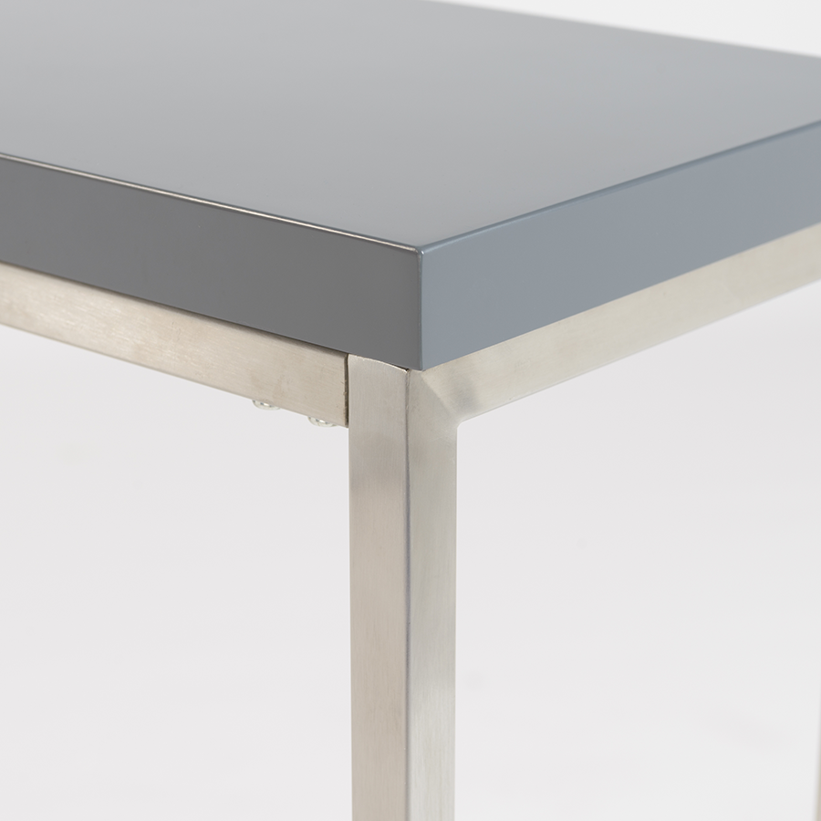 Teresa Brushed Steel + Matte Gray Contemporary Console Table